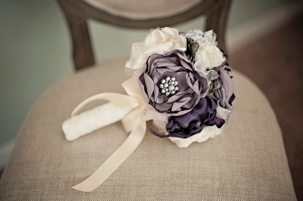wedding flower alternatives bridal bouquets from etsy purple ivory. Black Bedroom Furniture Sets. Home Design Ideas