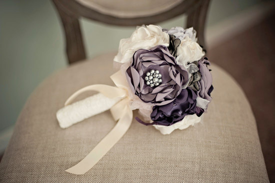 wedding flower alternatives bridal bouquets from Etsy purple ivory