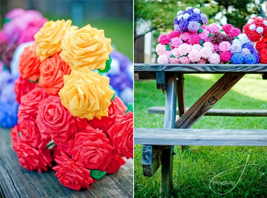 wedding flower alternatives bridal bouquets from Etsy rainbow paper roses