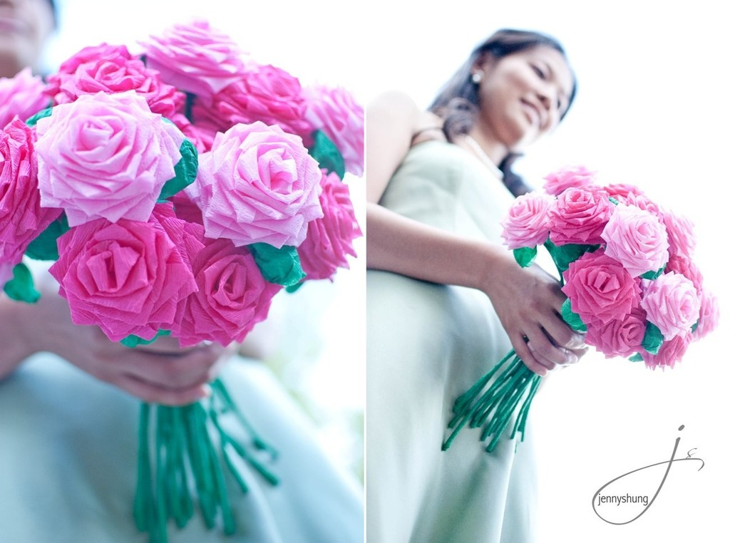 wedding flower alternatives bridal bouquets from Etsy pink roses paper