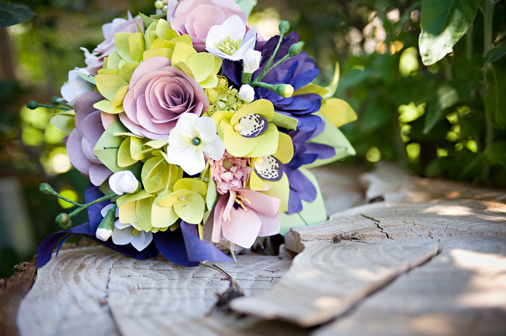 wedding flower alternatives bridal bouquets from Etsy purple green