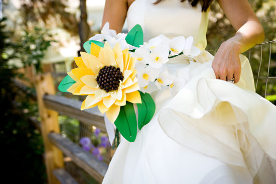 wedding flower alternatives bridal bouquets from Etsy paper orchids sunflower