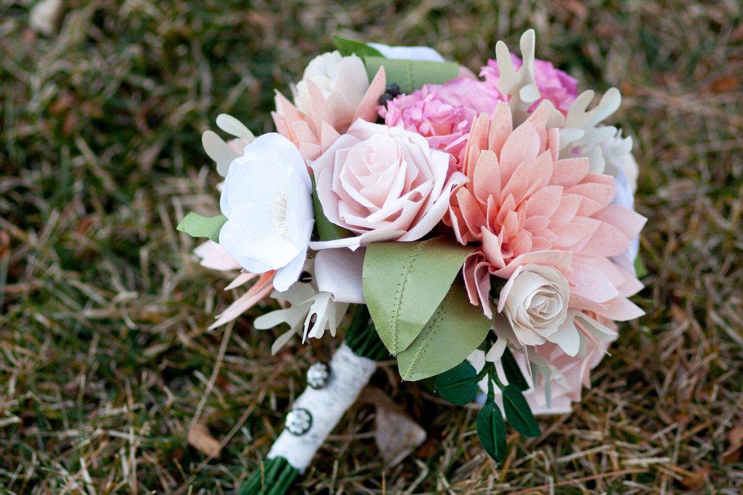 wedding flower alternatives bridal bouquets from Etsy pastel pink paper