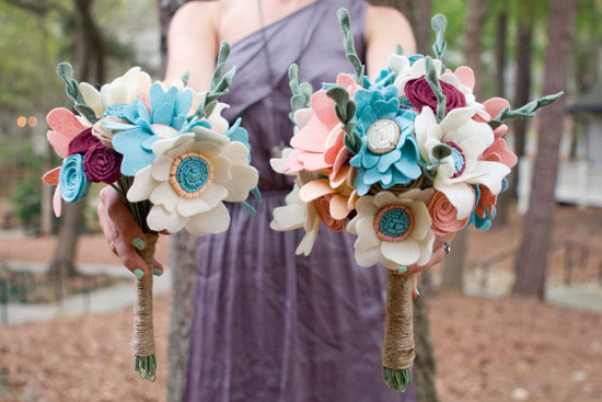 wedding flower alternatives bridal bouquets from Etsy ivory peach aqua