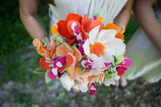 wedding flower alternatives bridal bouquets from Etsy felt citrus pink