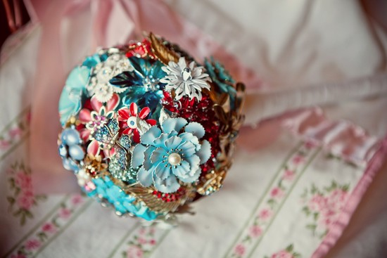 wedding flower alternatives bridal bouquets from Etsy red turquoise gold