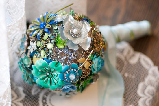 wedding flower alternatives bridal bouquets from Etsy blue aqua
