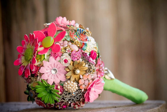 wedding flower alternatives bridal bouquets from Etsy bright colorful pink green