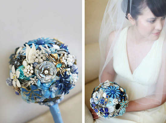 wedding flower alternatives bridal bouquets from Etsy something blue brooches