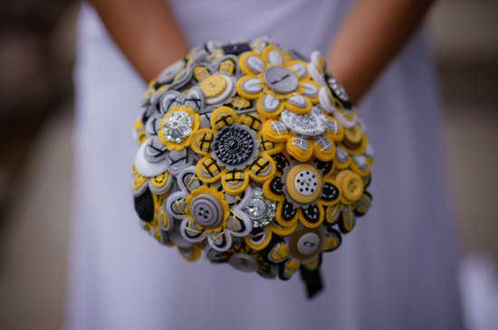 wedding flower alternatives bridal bouquets from Etsy yellow black gray