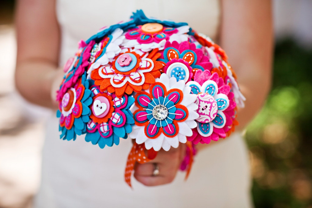 wedding flower alternatives bridal bouquets from Etsy red pink blue