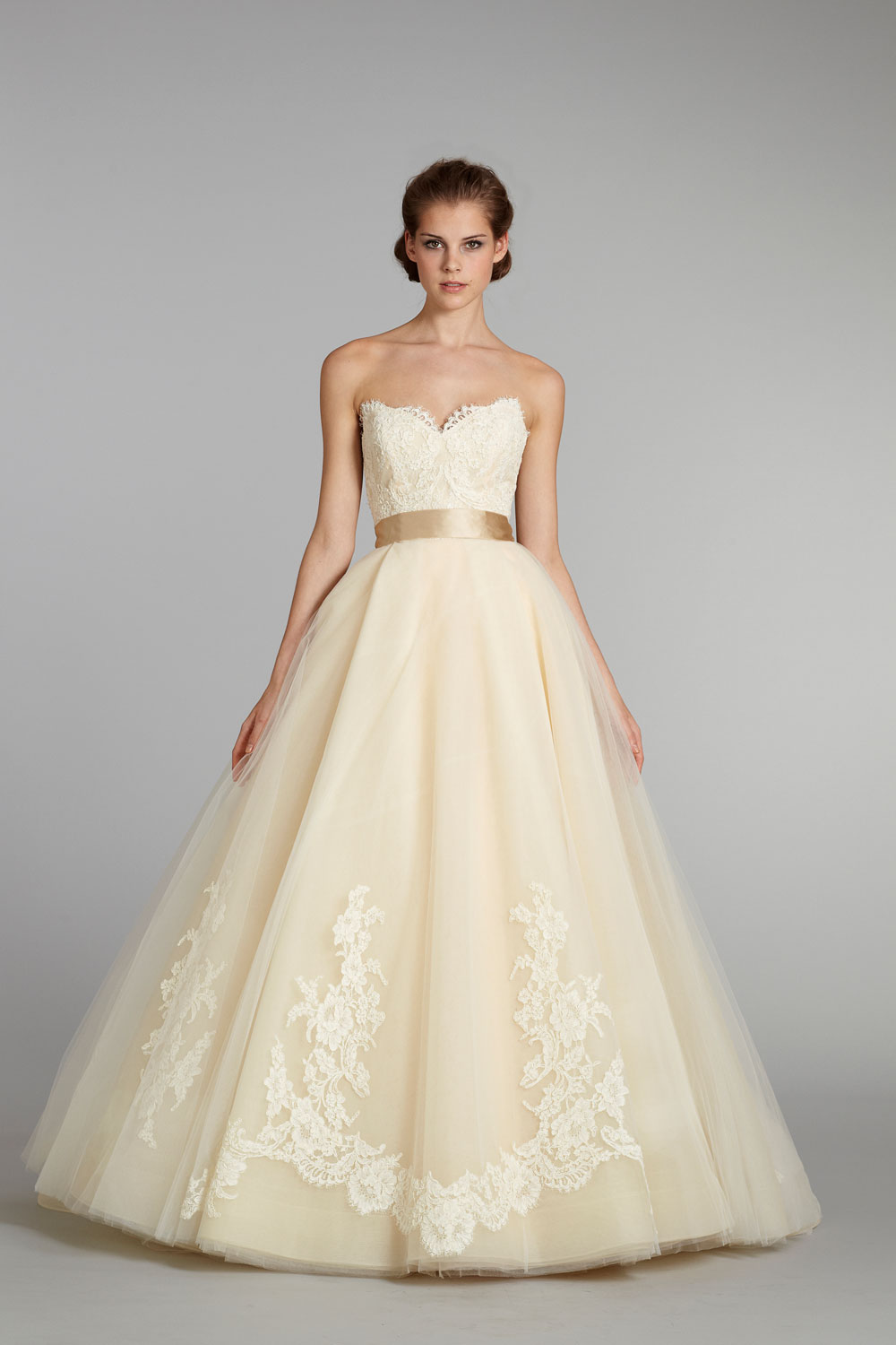 Fall 2012 wedding dress lazaro bridal gowns 3251 pale for Yellow dresses for weddings