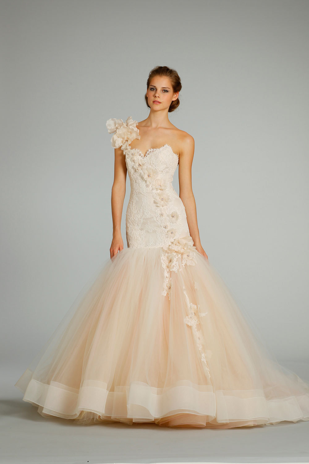 2012 wedding dress Lazaro bridal gowns 3259 peach tulle mermaid