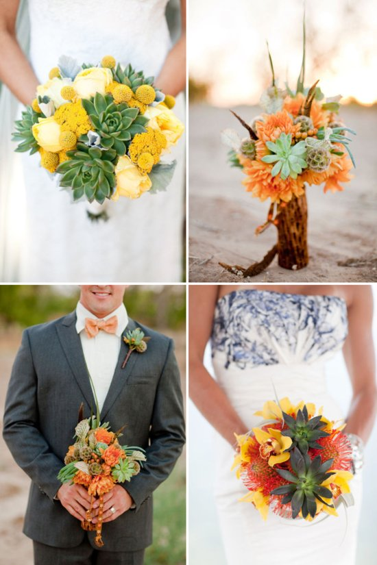 bridal bouquets succulents citrus wedding flowers