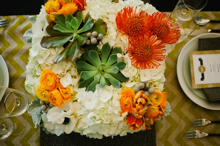 orange green succulent wedding inspiration floral centerpiece