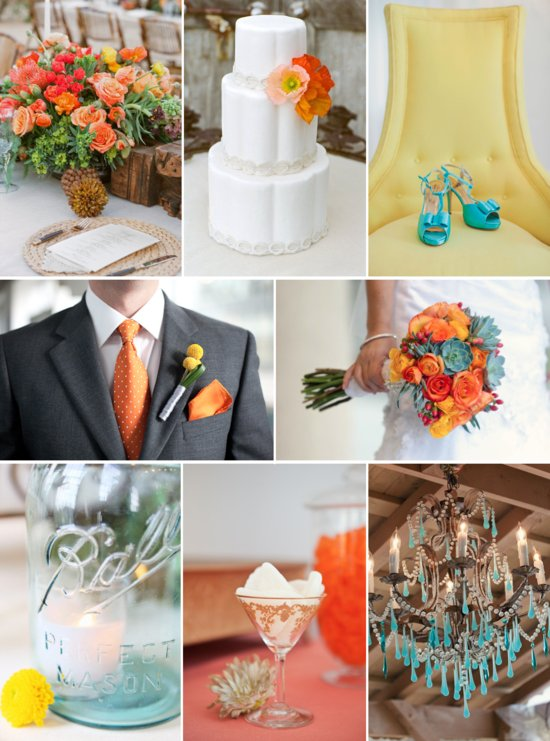 Orange, Succulent green, and yellow wedding color inspiration