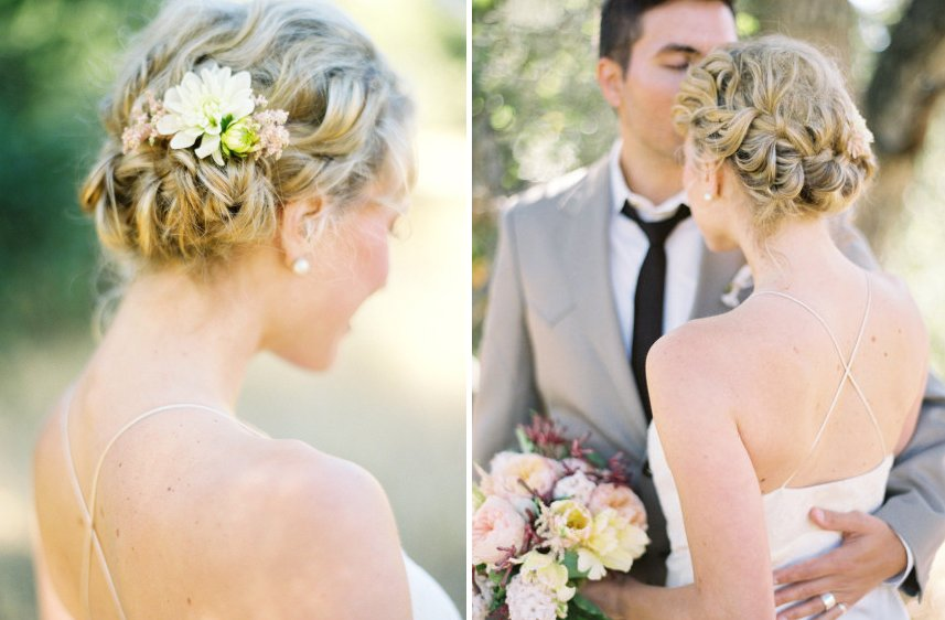 Wrapped around braid bridal updo