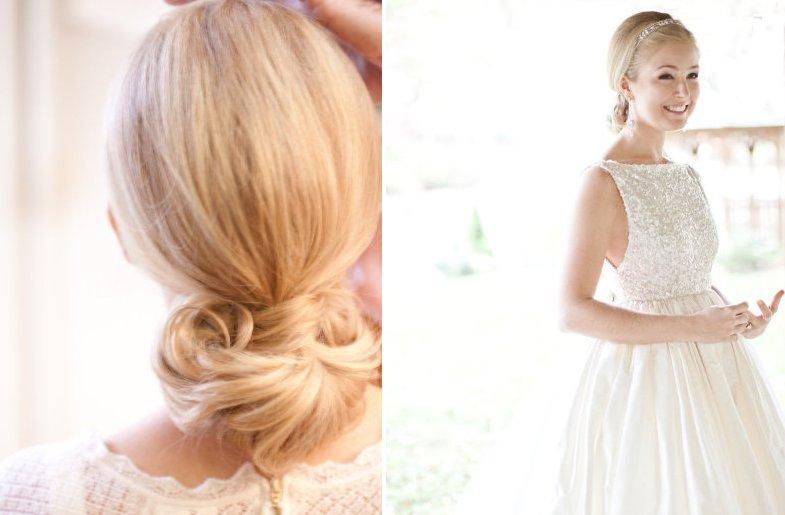 updos we love summer 2012 low bun with bridal headband