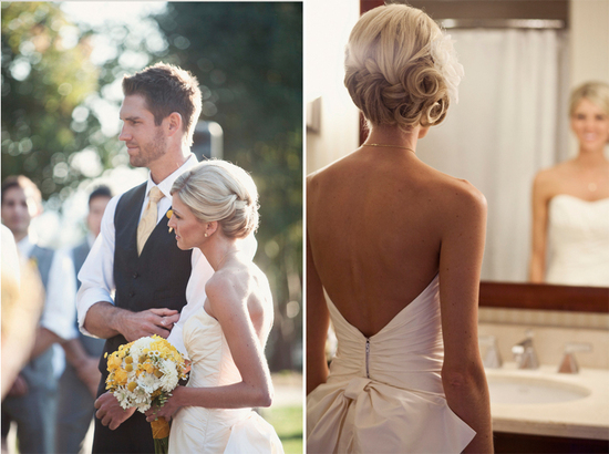 Gorgeous bridal updo with curls and braids