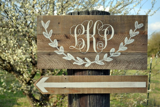 personalized wedding details ceremony reception signs on Etsy cursive monogram