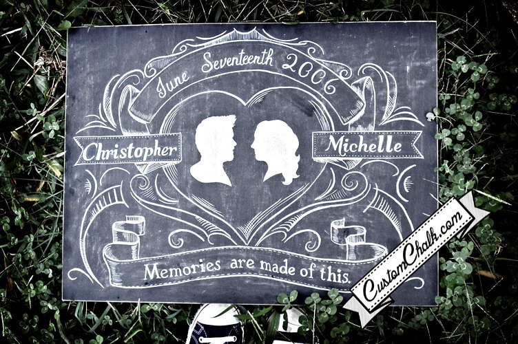 personalized wedding details ceremony reception signs on Etsy chalkboard chic 1