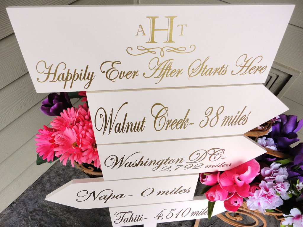 personalized wedding details ceremony reception signs on Etsy elegant gold white