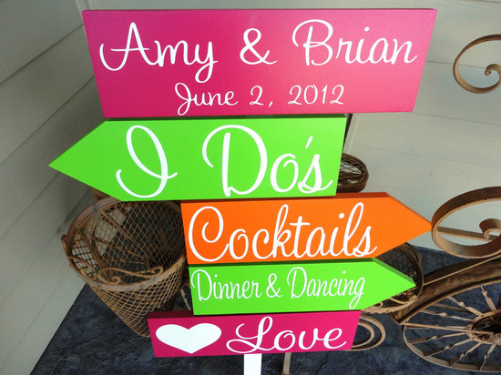 personalized wedding details ceremony reception signs on Etsy neon