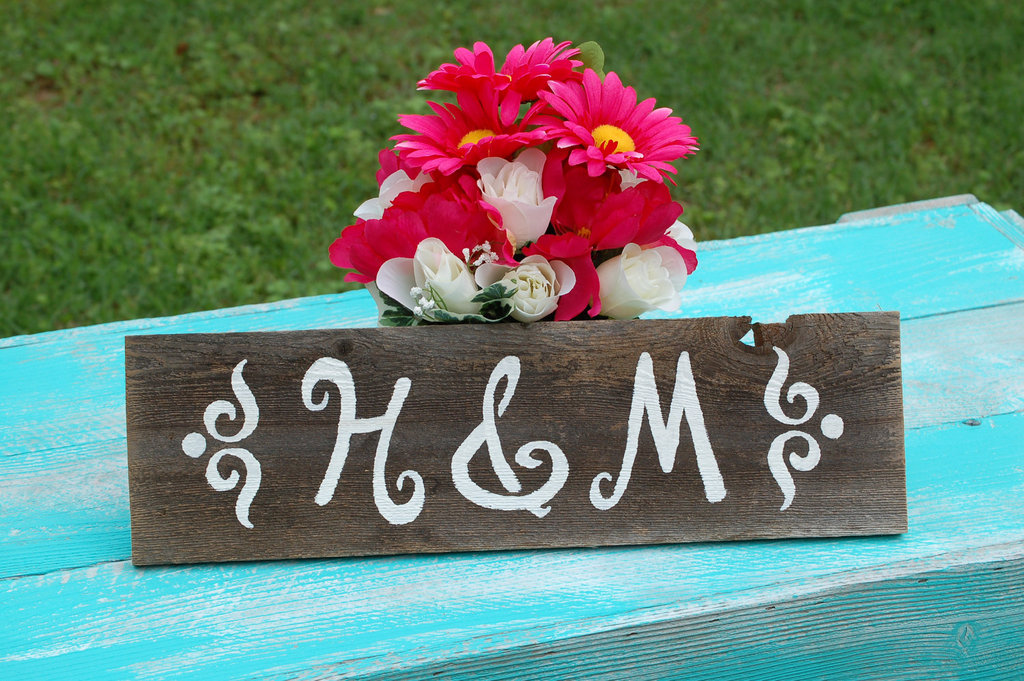handmade wedding signs from Etsy personalized wedding ideas monogram