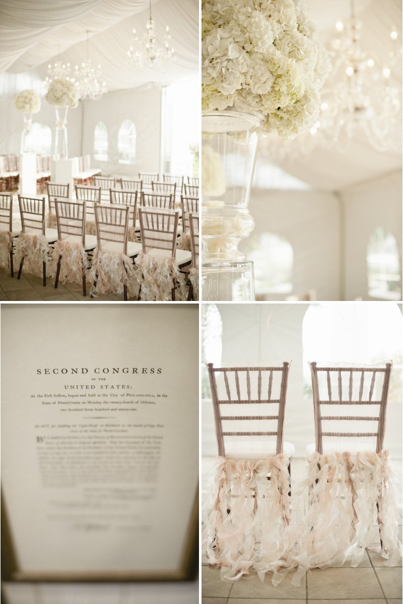 neutral wedding colors elegant reception inspiration hydrangeas chandeliers