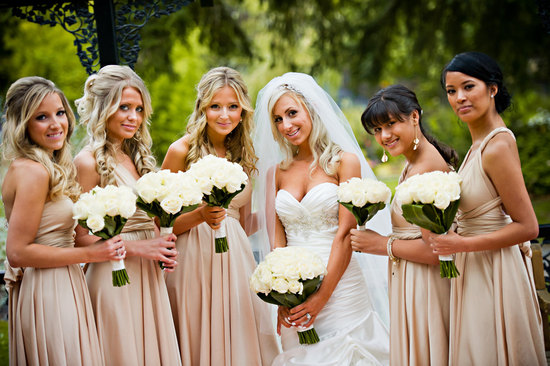convertible bridesmaids dresses bridal party style inspiration from Etsy nude