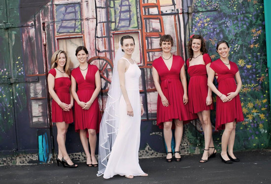 convertible bridesmaids dresses bridal party style inspiration from Etsy red