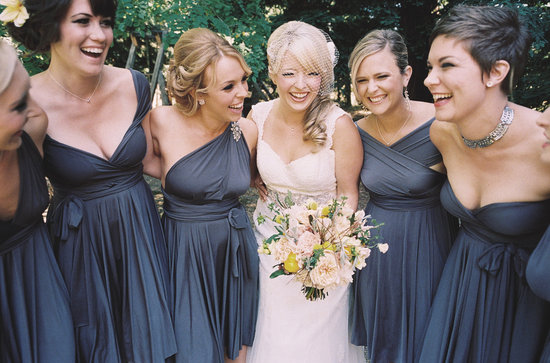 convertible bridesmaids dresses bridal party style inspiration from Etsy gray 3