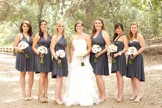 convertible bridesmaids dresses bridal party style inspiration from Etsy gray 2