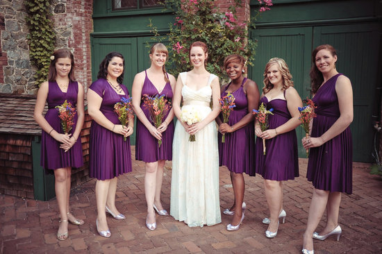 convertible bridesmaids dresses bridal party style inspiration from Etsy purple