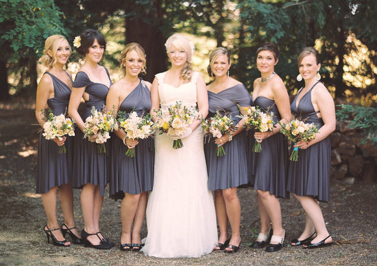 convertible bridesmaids dresses bridal party style inspiration from Etsy gray