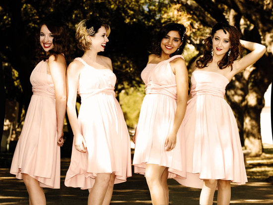 convertible bridesmaids dresses bridal party style inspiration from Etsy pastel peach