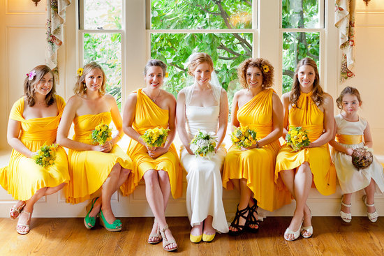 convertible bridesmaids dresses bridal party style inspiration from Etsy bright yellow