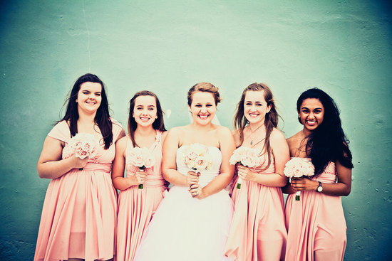convertible bridesmaids dresses bridal party style inspiration from Etsy peach