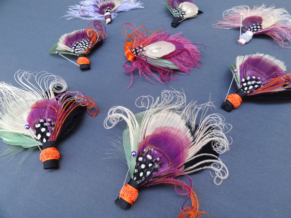 feather boutonnieres for grooms groomsmen