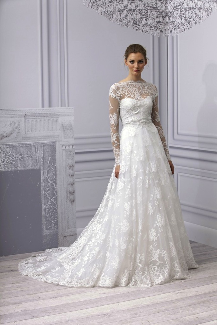 monique lhuillier 2013 wedding dress lace with sleeves