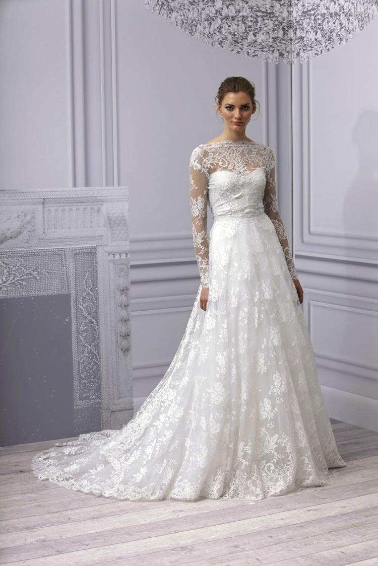 Monique lhuillier 2013 wedding dress lace with sleeves for Lace wedding dress sleeves