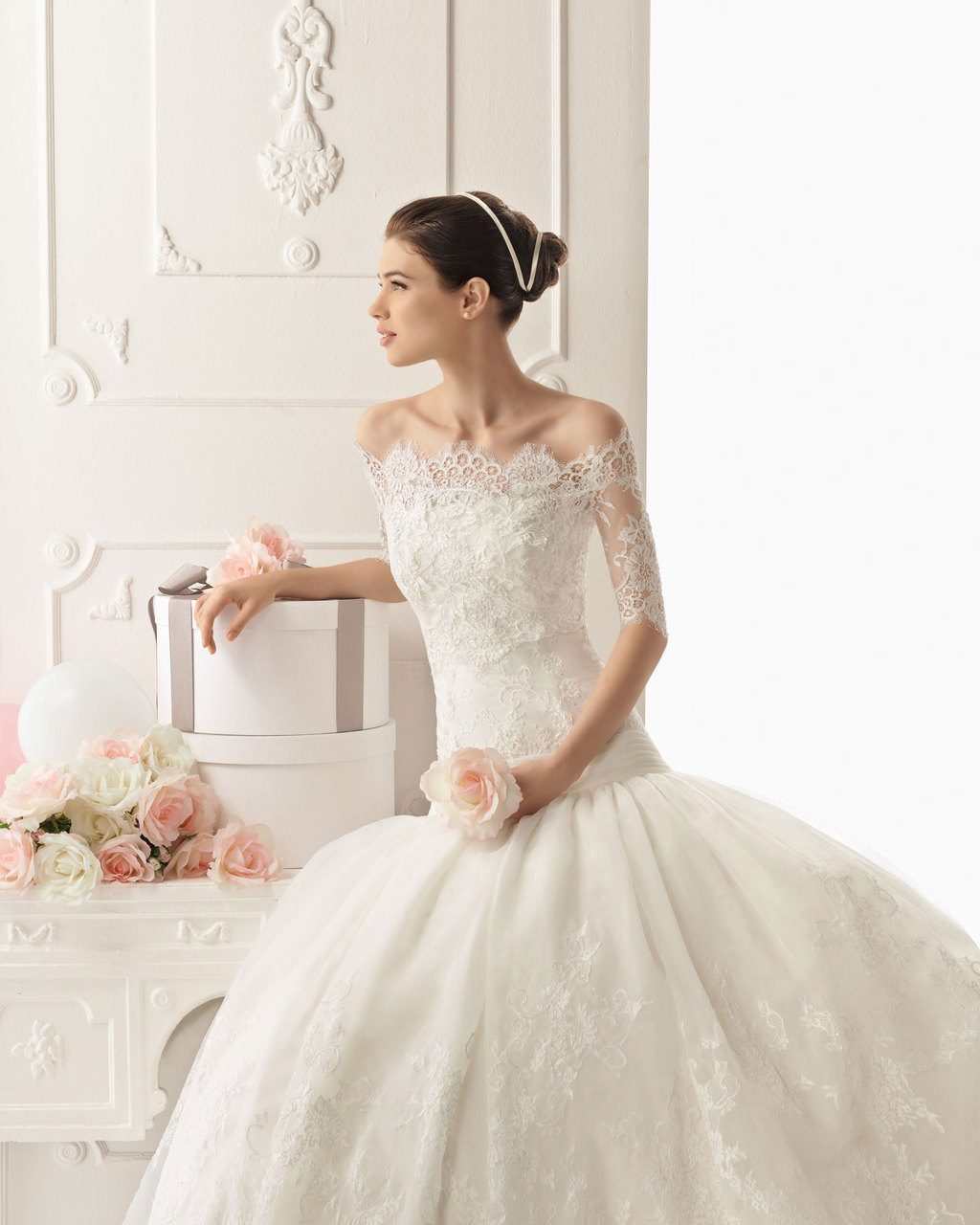 Lace wedding dress from rosa clara bridal with off the