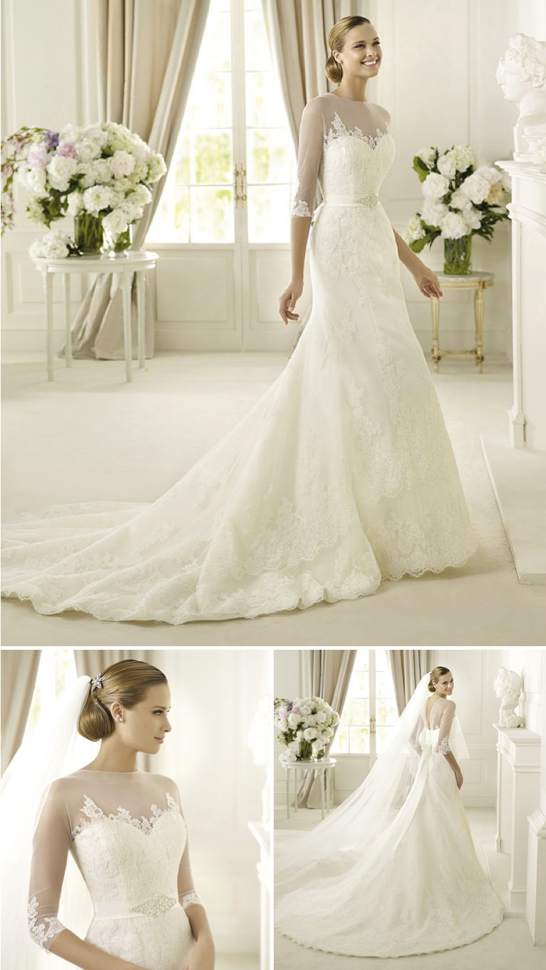 15-wedding-dresses-perfect-for-church-weddings-pronovias-fit-and-flare-illusion-sleeves.full