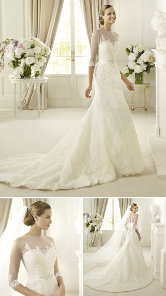 Pronovias fit and flare illusion sleeves