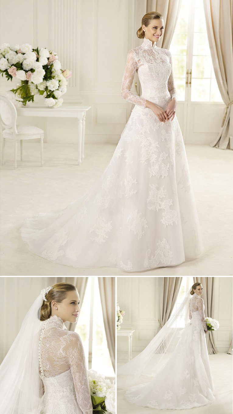 15-wedding-dresses-perfect-for-church-weddings-pronovias-a-line-lace-sleeves-high-neck-2.full