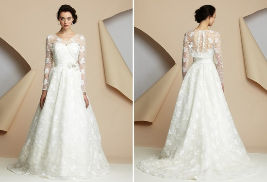 Classic cathedral wedding from alyne bridal with floral embellished sleeves