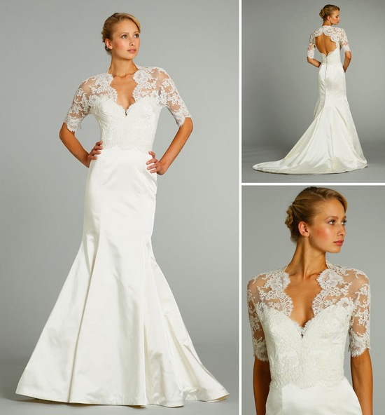 15 wedding dresses perfect for a classic cathedral wedding 1 jim hjelm fall 2012 lace sleeves