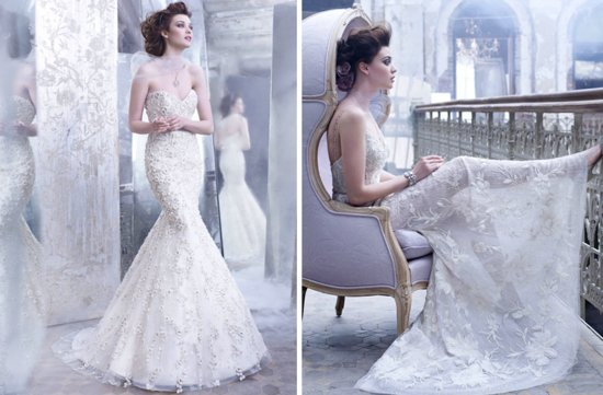 romantic fall 2012 wedding dresses Lazaro bridal gown mermaid romantic