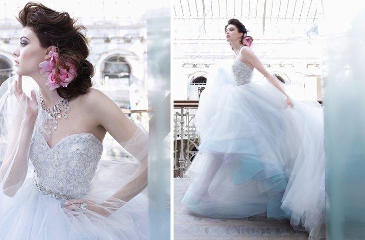 Fall 2012 Wedding Dress Lazaro Bridal Gown Non White Sky Blue Tulle