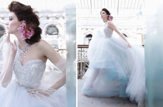 fall 2012 wedding dress lazaro bridal gown non white sky blue tulle